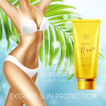 Ontwerpsjabloon voor zonbescherming cosmetische producten.