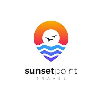 Ontwerpsjabloon voor zonsondergangpunt-logo