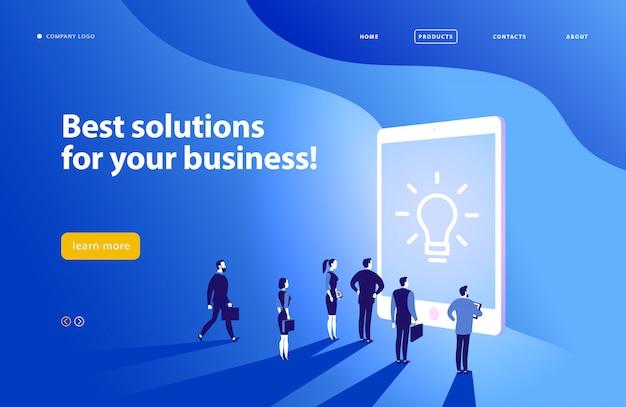 Ontwerpsjabloon webpagina - complexe bedrijfsoplossing, projectondersteuning, online consult, moderne technologie, service, tijdbeheer, planning. bestemmingspagina. mobiele app. platte concept illustratie