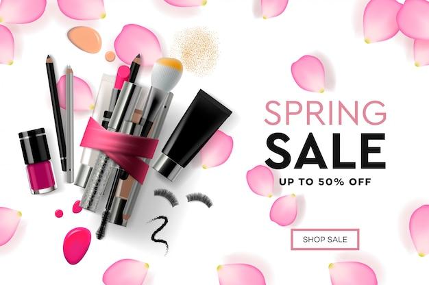 Ontwerpsjabloon webpagina voor spring sale cosmetica, make-up cursus, natuurlijke producten, lichaamsverzorging modern ontwerp illustratie concept voor website en mobiele website-ontwikkeling.