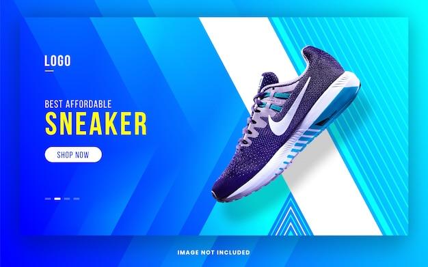 Ontwerpsjabloon website header / hero area voor sneakers