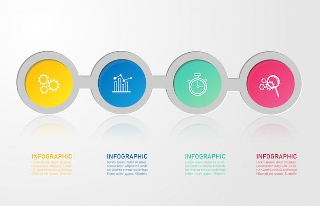 Ontwerpsjabloon zakelijke 4 opties infographic voor presentaties.