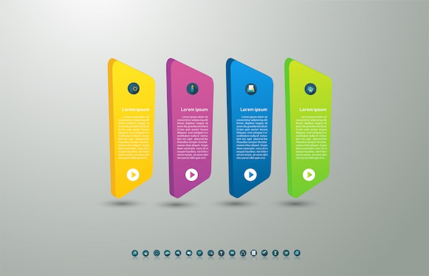 Ontwerpsjabloon zakelijke 4 opties of stappen infographic grafiekelement.
