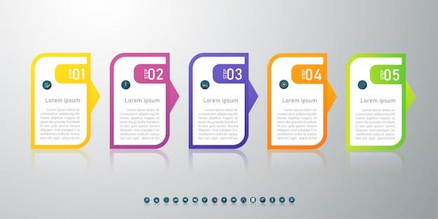 Ontwerpsjabloon zakelijke 5 opties infographic grafiekelement.