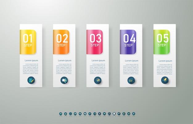 Ontwerpsjabloon zakelijke 5 opties infographic voor presentaties.
