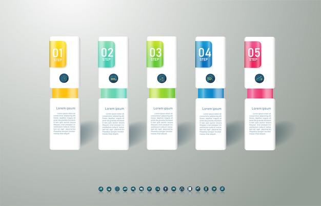 Ontwerpsjabloon zakelijke 5 opties of stappen infographic grafiekelement.