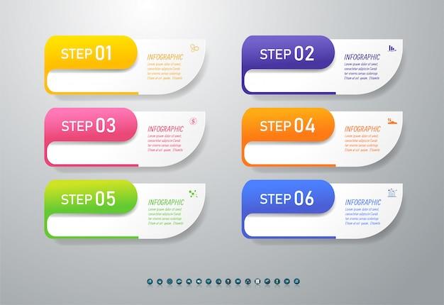 Ontwerpsjabloon zakelijke 6 opties infographic grafiekelement.