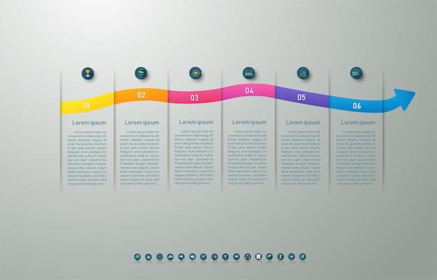Ontwerpsjabloon zakelijke 6 opties infographic voor presentaties.