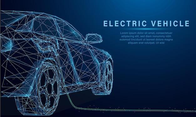 Ontwerpvector in laag polystijl van ev-auto of elektrisch voertuig bij laadstation