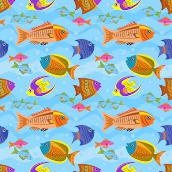 Ontwerpvissen in het blauwe zee naadloze patroon.