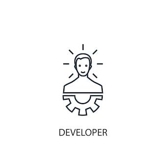 Ontwikkelaar concept lijn icoon. eenvoudige elementenillustratie. ontwikkelaar schets symbool conceptontwerp. kan worden gebruikt voor web- en mobiele ui/ux