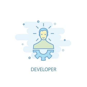 Ontwikkelaar lijn concept. eenvoudig lijnpictogram, gekleurde illustratie. ontwikkelaar symbool plat ontwerp. kan worden gebruikt voor ui/ux