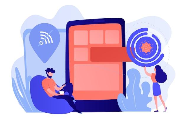 Ontwikkelaar werkt aan webapp op smartphone, gebruiker offline, kleine mensen. progressieve web-app, offline werken, ontwikkelingsconcept voor pwa-toepassingen