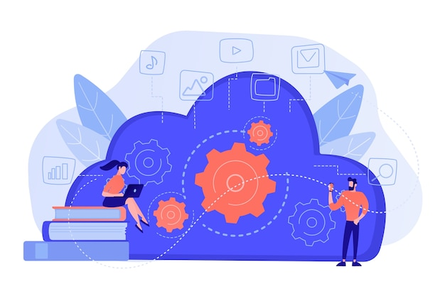 Ontwikkelaars die laptop en smartphone gebruiken die met cloudgegevens werken. multimedia en big data-architectuur, database, cloud computing, cloudplatformconcept. vector geïsoleerde illustratie.