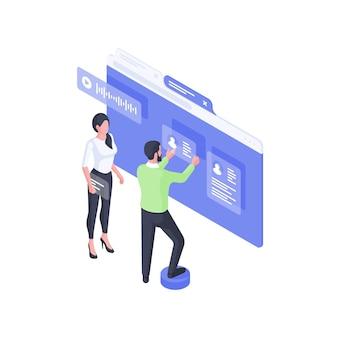 Ontwikkelaars die online isometrische illustratie van gebruikersaccounts maken. mannelijk en vrouwelijk personage maakt webassemblage die klanten cv en videopagina bevestigt. communicatie sociale interface concept.