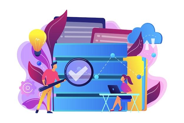 Ontwikkelaars met vergrootglas bestuderen de illustratie van gegevensanalyse.