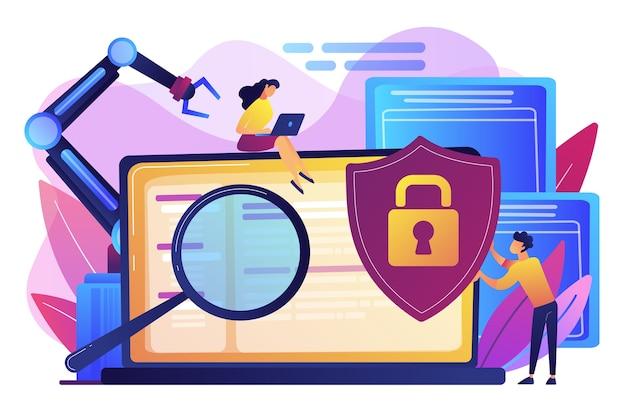 Ontwikkelaars, robot werken op laptop met vergrootglas. industriële cybersecurity, industriële robotica-malware, bescherming van het industriële robotica-concept. heldere levendige violet geïsoleerde illustratie