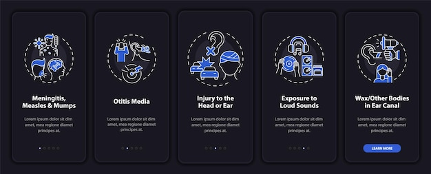 Ontwikkeld hypoacusis onboarding mobiele app paginascherm met concepten