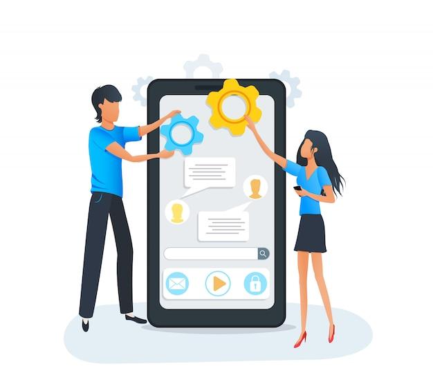 Ontwikkeling en codering van mobiele apps.