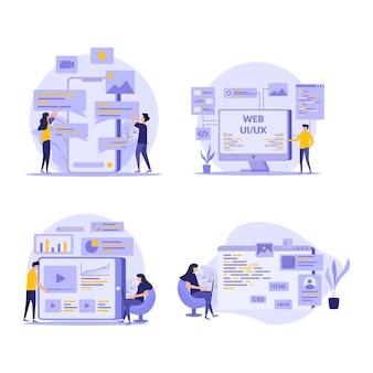 Ontwikkeling en marketing vlakke afbeelding set