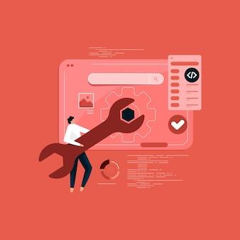 Ontwikkeling en opzetten van responsieve internetwebsite-interface voor meerdere platforms, conceptuele banner van webtechnologie