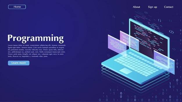 Ontwikkeling en software. concept van programmeren, gegevensverwerking.