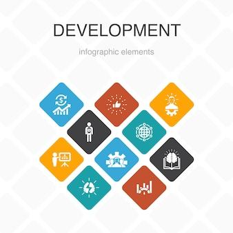 Ontwikkeling infographic 10 optie kleurontwerp. wereldwijde oplossing, kennis, investeerder, eenvoudige pictogrammen brainstormen
