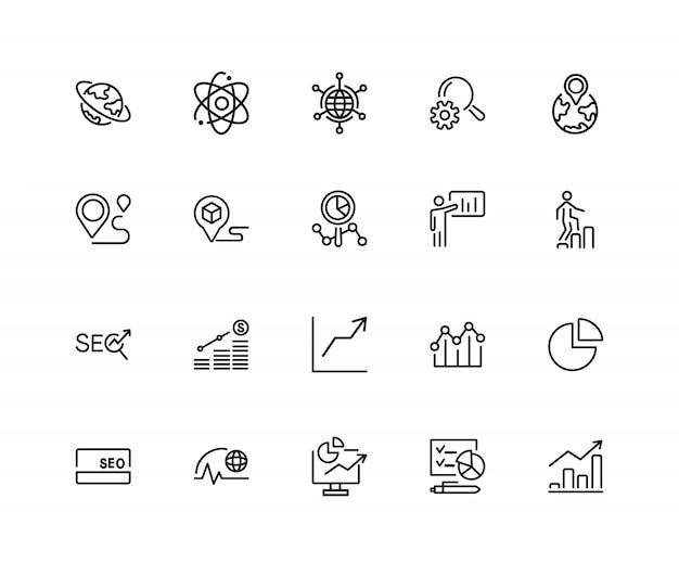 Ontwikkeling pictogrammen. set van twintig lijn pictogrammen. groeimeter, seo-optimalisatie, wereldwijde business