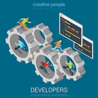 Ontwikkeling teamwork concept ontwikkelaars programmeur coder team in versnelling tandrad plat isometrisch.