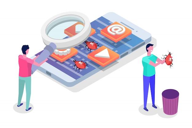Ontwikkeling, testen en prototyping van mobiele applicaties isometrisch. app-interface bouwen.