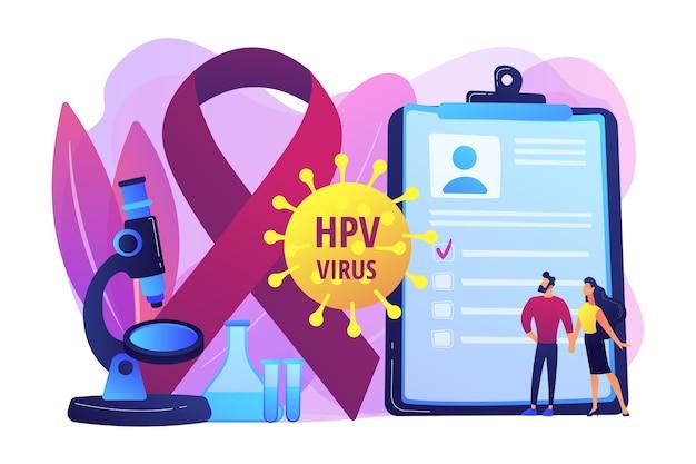 Ontwikkeling van het humaan papillomavirus. ziekte symptoom. risicofactoren voor hpv, hpv-infectie leidt tot baarmoederhalskanker, screening op baarmoederhalskanker. heldere levendige violet geïsoleerde illustratie