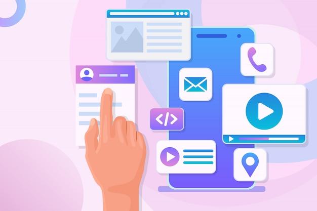 Ontwikkeling van mobiele applicaties. hand beweegt pictogrammen en programmacode op het telefoonscherm. mobiele app-constructor