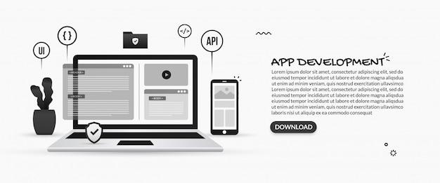 Ontwikkeling van mobiele applicaties, illustraties van programmeren en softwareontwikkeling