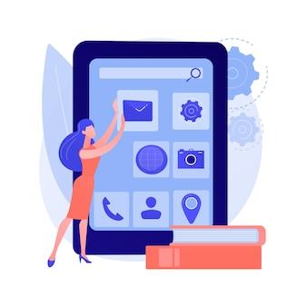Ontwikkeling van mobiele applicaties. ui-indeling, telefoonsoftware, responsieve engineering van mobiele apps. webontwikkelaar die het ontwerp van de gebruikersinterface van een smartphone maakt.