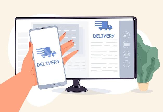 Ontwikkeling van mobiele applicaties voor online levering. vrouw hand met smartphone voorzijde van computerschermmonitor. vrachtvervoer tot deur transpiratiedienst per vrachtwagen, koerier. tracking-app op telefoon