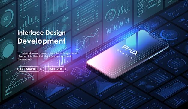 Ontwikkeling van mobiele apps en. concept gebruikersinterfaceontwerp ui / ux. lay-out sjabloon website.
