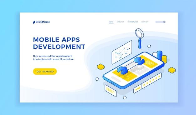 Ontwikkeling van mobiele apps. isometrische illustratie van smartphone met moersleutel op scherm op banner reclame prototyping en testen van mobiele applicaties ontwikkelingsservice. sjabloon voor bestemmingspagina
