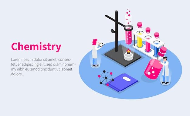Ontwikkeling van vaccins isometrische horizontale samenstelling met menselijke karakters van reageerbuizen en laboratoriumbrander met bewerkbare tekst