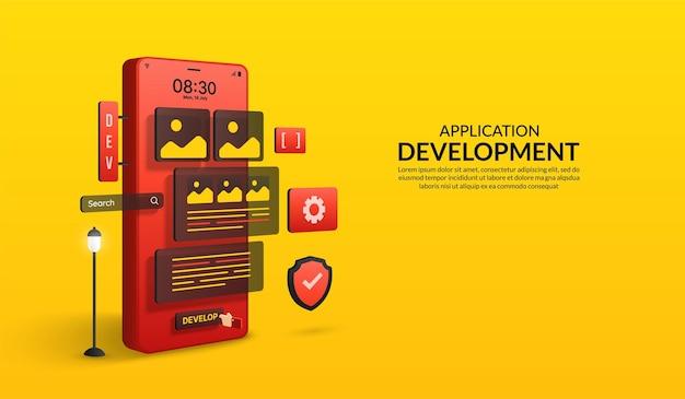 Ontwikkelingsconcept voor websoftware en -applicaties coderen en programmeren responsive lux ui-ontwerp