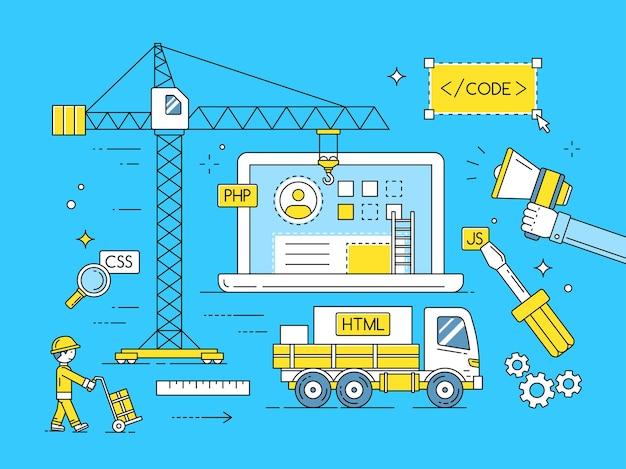 Ontwikkelingsproces voor webapplicaties. internet mobiele ontwikkelingsapp, ontwikkeling van computerapp-interface. illustratie