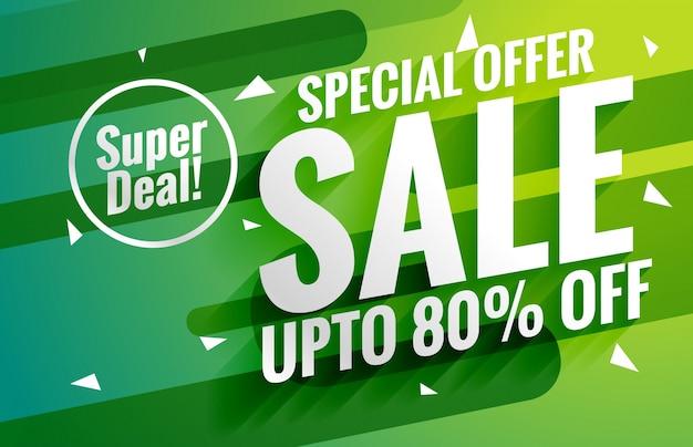 Ontzagwekkende groene verkoop banner voucher voor marketing design