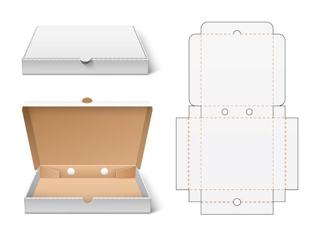 Onverpakte pizzadoos. realistisch 3d wit kartonnen fastfood verpakkingsmodel, open en gesloten weergave, container snijden verpakkingsschema vectorconcept