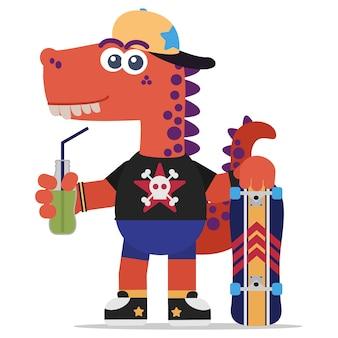 Onverschrokken oranje dinosaurus met een skateboard en een frisdrank. cartoon stijl. illustratie. platte ontwerpstijl.