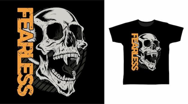 Onverschrokken schedelhoofd voor t-shirtontwerp
