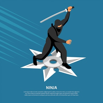Onverslaanbaar ninjastrijderskarakter in actie pose