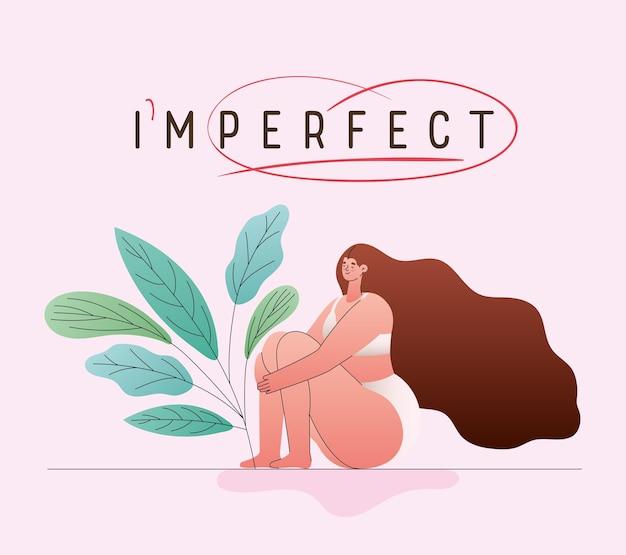 Onvolmaakte perfecte vrouwencartoon met grote maten in ondergoed met bladerenontwerp, thema love and care yourself
