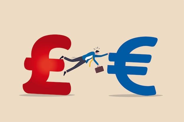 Onvoltooid, geen deal of harde brexit, onderhandeling of overeenkomst mislukt door de regering van het vk en het verenigd koninkrijk om het concept van de europese unie van de eu te verlaten, zakenman probeert hard het britse pond en eurogeldteken vast te houden.