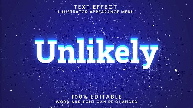 Onwaarschijnlijke bewerkbare sjabloon voor gloeiende teksteffectstijl