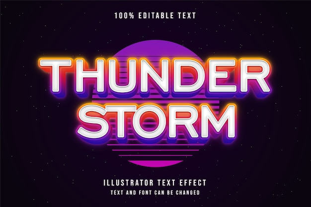 Onweer, 3d bewerkbaar teksteffect gele gradatie roze neon tekststijl