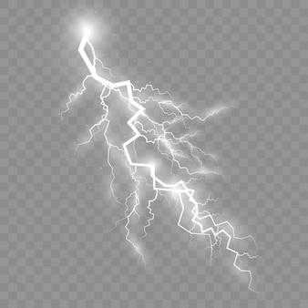 Onweer en bliksem, het effect van bliksem en verlichting, set ritsen, symbool van natuurlijke kracht of magie, licht en glans, abstract, elektriciteit en explosie, vectorillustratie, eps 10